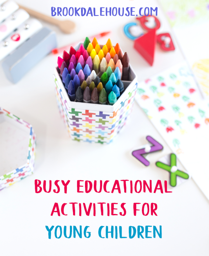 Many times throughout the day tasks need to be completed that are little or no interest to young children. Such times as homeschooling a sibling, making lunch, or completing chores are made so much easier if you are prepared with simple, fun, and educational activities a young child can do on her own. Bonus if the activities include simple items you already have around the house or dollar store items to store away in a box.